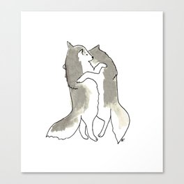 wolf hug Canvas Print