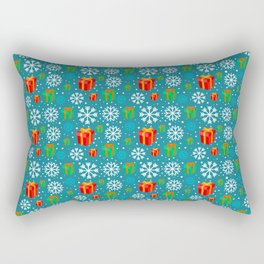 Christmas Gift and Snowflakes Pattern Rectangular Pillow