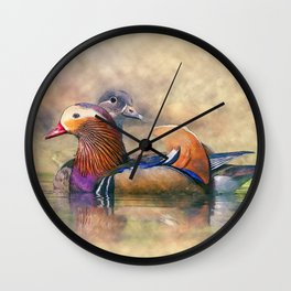 Watercolor Mandarin Ducks Feng Shui Symbol Wall Clock