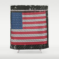american flag Shower Curtains featuring American Flag by Photaugraffiti