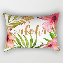 Aloha Watercolor Tropical Hawaiian leaves and flowers Rectangular Pillow