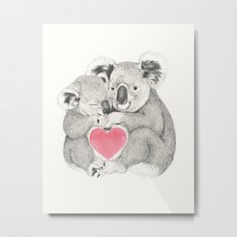 Koalas love hugs Metal Print