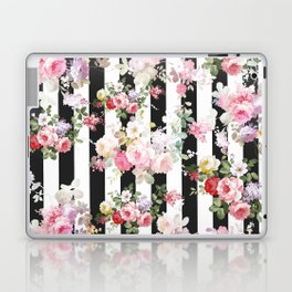 Bold pink watercolor roses floral black white stripes Laptop & iPad Skin