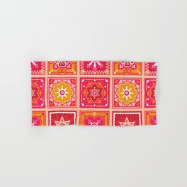 Talavera Mexican Tile – Hot Pink & Orange Palette Hand & Bath Towel