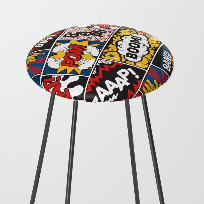 Modern Comic Book Superhero Pattern Color Colour Cartoon Lichtenstein Pop Art Counter Stool