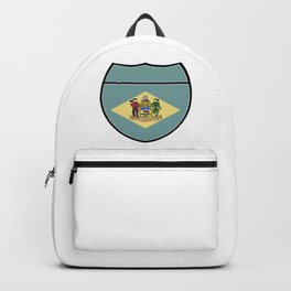 Delaware Flag In An Interstate Sign Backpack
