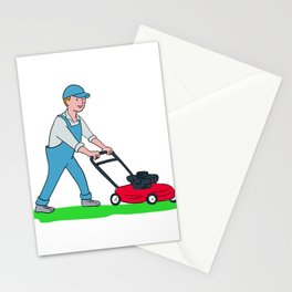 Gardener Mowing Lawn Cartoon Stationery Cards