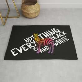 Not everything is black and white, zebra, watercolor Rug