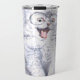 A cat with glasses Travel Mug
