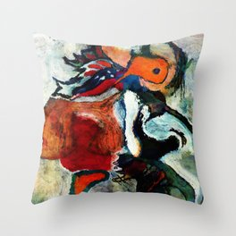 Orange Abstract Art / Surrealist Painting Throw Pillow