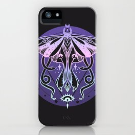 Luna Moth, Snakes, Third Eye, Stars And Witchy Aesthetic Pastel Goth Art iPhone Case