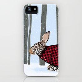 Rabbit Wintery Holiday Design iPhone Case
