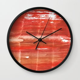Rowan red stained watercolor texture Wall Clock