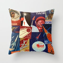 Russian Space Travel Throw Pillow