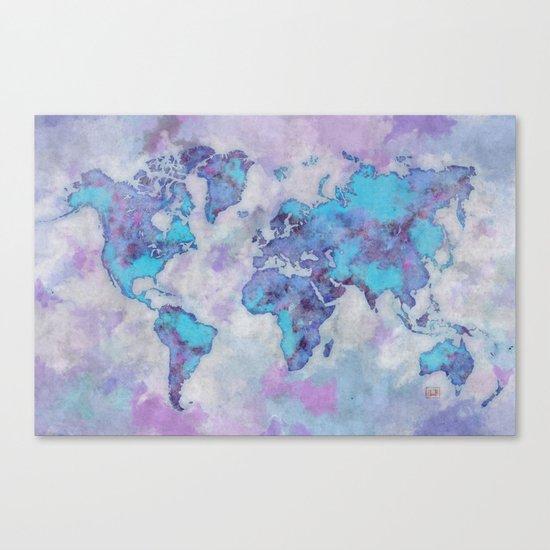 World Map Purple Canvas Print