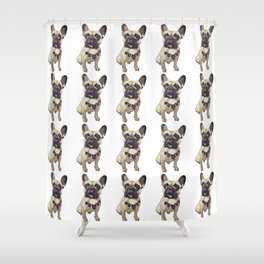 F is for French Bulldog Shower Curtain