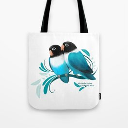 Blue Masked Lovebirds Tote Bag