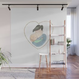Love dad | new dad | newborn | watercolor art | tender illustration | alis Wall Mural