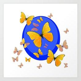 YELLOW BUTTERFLIES SWARM & BLUE RING MODERN ART Art Print