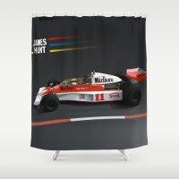f1 Shower Curtains featuring James Hunt McLaren F1  | Car | Automotive | Formula One by Automotive Art
