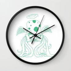 Space Alien Sci Fi art Lines Only by RonkyTonk Wall Clock