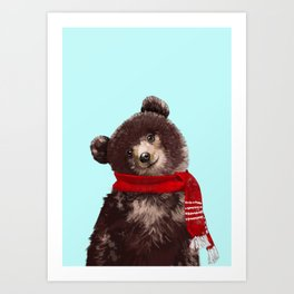 Baby bear in Christmas Mood Art Print