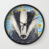 british Wall Clocks featuring British Badger by stephanie cole DESIGN