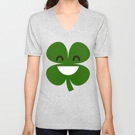 Clover Emoji Smiling St Patricks Day Irish Shamrock Unisex V-Neck