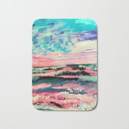 Pastel Sunset Abstract Painting Bath Mat