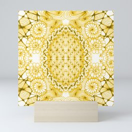 Yellow Zentangle Tile Doodle Design Mini Art Print