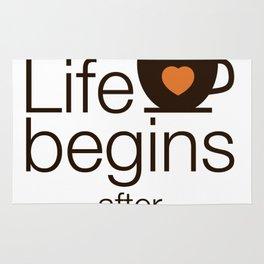 Life begins after coffee - I love Coffee Rug