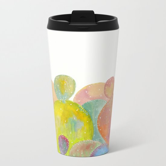 Rainbow Cactus Metal Travel Mug