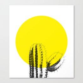 Sunset Minimal Cactus Canvas Print