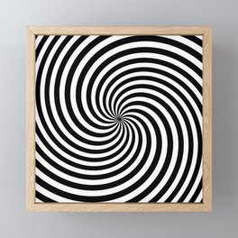 Black And White Op Art Spiral Framed Mini Art Print
