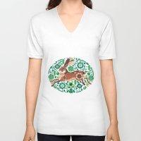 hare V-neck T-shirts featuring RUNNING HARE by Riku Ounaslehto
