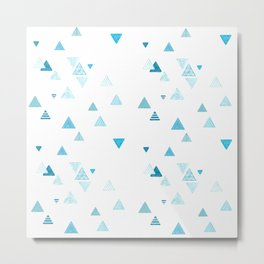 Triangles patterned random small blues Metal Print