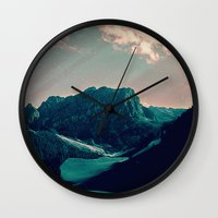snowboard Wall Clocks featuring Mountain Call by Schwebewesen • Romina Lutz