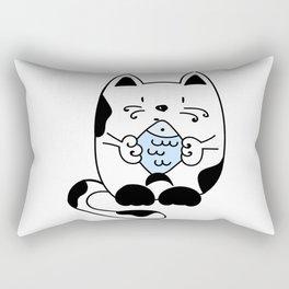 Cat with a fish Rectangular Pillow