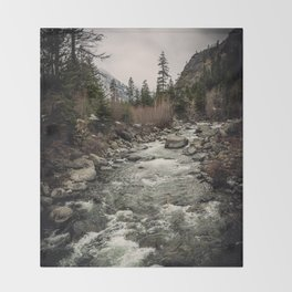 Winter Begins - River Mountain Nature Photography Throw Blanket