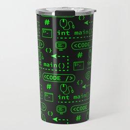 Love of Software Pattern - Green and Black Travel Mug