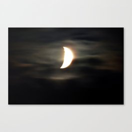 Misty Moon and Wispy Clouds. Canvas Print