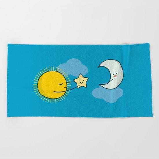 Sun and Moon - Cute Doodles Beach Towel