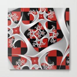 Red Black and White, Fractal Art Metal Print