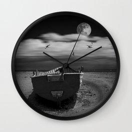 Row Boat on a Sandy Beach in Biscayne Bay Florida Wall Clock