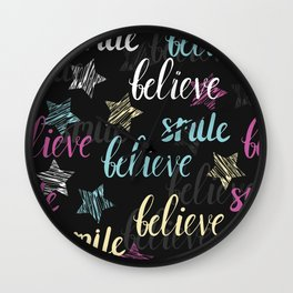 Positive lettering stylish print Wall Clock