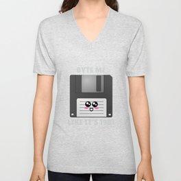 Byte Me Like It's 1981 Funny Floppy Disk Pun Unisex V-Neck