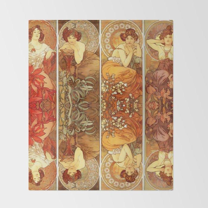 "Alphonse Mucha ""The Gem Series - Ruby, Amethyst, Emerald, Topaz"" Throw Blanket"