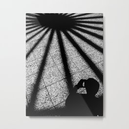shadow on the tile floor in black and white Metal Print