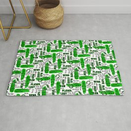Gamer Lingo-White and Green Rug
