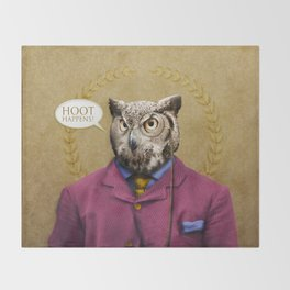 "Mr. Owl says: ""HOOT Happens!"" Throw Blanket"
